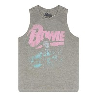 David Bowie Old Style Picture Women's Grey Tank Top
