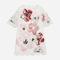Girls' Dresses - New Collection | Dolce&Gabbana - EMBROIDERED LACE DRESS