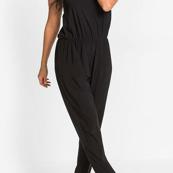 A  Chicloth Casual Sleeveless Cotton Solid Beaded Jumpsuit