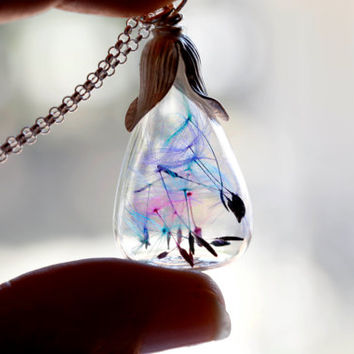 Rainbow dandelion teardrop necklace - glass seeds - make a wish - multicolor - nature - bridesmaid gift - real flowers