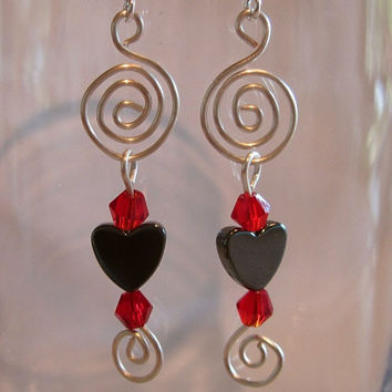 "Heart Spiral Pierced Earrings Hematite ""Endless Love"""