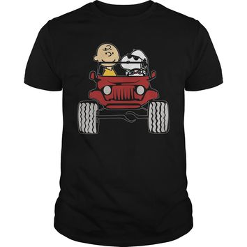 Jeep they are Snoopy and Charlie brown shirt Premium Fitted Guys Tee