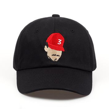 Chance The Rapper 3 Black Embroidered Cotton Dad Hat