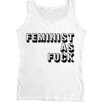 Feminist As Fuck Stencil -- Women's Tanktop