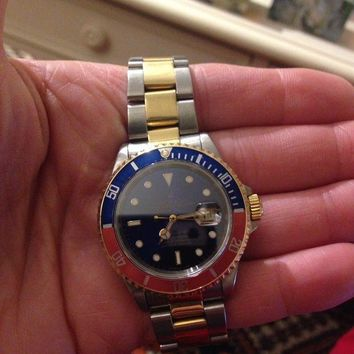 ONETOW MEN'S ROLEX SUBMARINER TWO TONE BLUE DIAL/BEZEL 18K GOLD & STAINLES