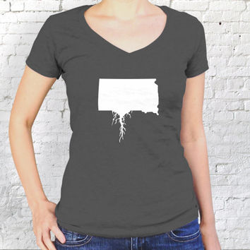 South Dakota Roots Ladies V Neck Tee - 100% Cotton T-Shirt Women's Top - SD Girl's Fitted Tee-  State Gift - Hometown Roots Apparel