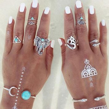 Retro Boho Rings (8-pc Set)