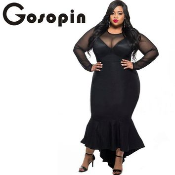 Gosopin Plus Size Women Sexy Clubwear Dress Black Mermaid High Low Maxi Ladies Formal Autumn Dresses XXL Party Long Sleeve 61086