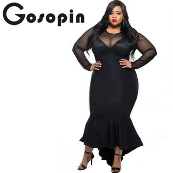 Gosopin Plus Size Women Sexy Clubwear Dress Black Mermaid High Low Maxi Ladies Formal Dresses XXL Party Long Sleeve 61086