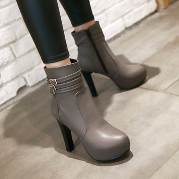 Ankle Boots for Women Platform High Heels Buckle Autumn Winter Shoes Woman 7645