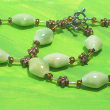 Irish Bracelet Set Lime Green and Copper Beaded Medium
