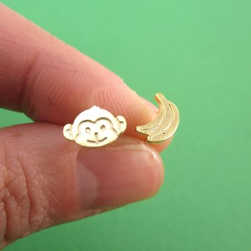 Monkey and Banana Shaped Allergy Free Stud Earrings in Gold