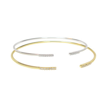 Open Bangle with CZ Accents
