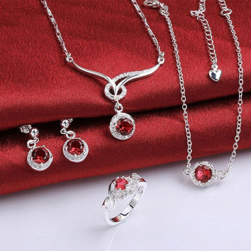 ROMACCI Fashion Accessories 925 Silver Plated Material Earrings+Necklaces+Ring Bridal Party Diamond Red Elegant Jewelry Sets for Girl Women = 1958493188