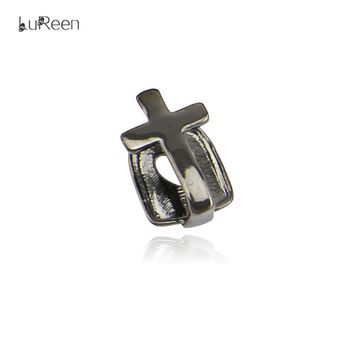 LuReen Cross Teeth Grills Single Canine Tooth Hiphop Hollow Fangs Grills Halloween Party Jewelry LD0101