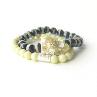 Beaded Bracelet Set - Black Lemon - Bracelet Set - Tibetan Agate, Lemon Jasper, Opal