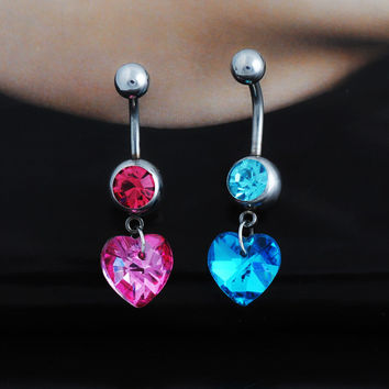 Stylish Strong Character Accessory Crystal Diamonds Pendant Belly Ring [6768787911]