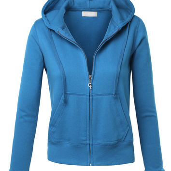 LE3NO Womens Comfortable Zip Up Fleece Hoodie Jacket (CLEARANCE)