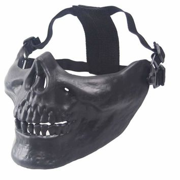 Halloween Half Face Skull Mask Protective Paintball Air Gun Protection Mask Camouflage Scary Prank Cosplay Combat Camuflaje Caza