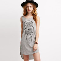 Grey Totem Print Sleeveless Backless Dress with Long Back