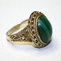Vintage Chinese Gold Vermiel Malachite Stone Ring by patwatty