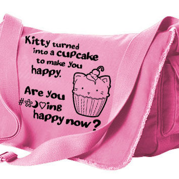Offensive Kawaii Messenger Bag - Kitty Turned into a Cupcake - cute kitten pastel goth laptop bag harajuku scene kawaii school bag