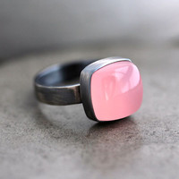 Pink Chalcedony Ring, Bubble Gum Pink Chalcedony Oxidized Sterling Silver Ring - US Size 6.5 - Cotton Candy