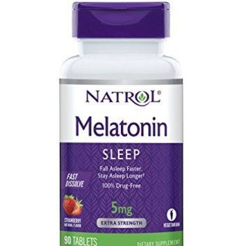 [Pack of 2] Natrol Melatonin Fast Dissolve Tablets, Strawberry flavor, 5mg, 90 Count Each