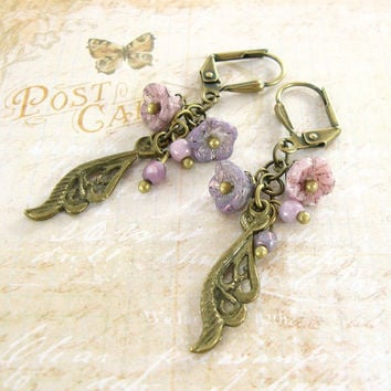 Neo Victorian Flower Earrings - Lilac Purple Cluster Earrings Antique Brass Bronze Leaf Earrings - Czech Glass Vintage Style Brass Jewelry