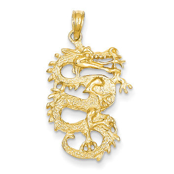 14k Solid 3-Dimensional Dragon Pendant C2375