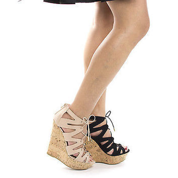 Booth47V Corset Lace Up Gladiator Corkscrew Platform High Wedge Heels