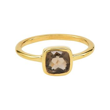 Mini Cushion Gold Bezel Ring