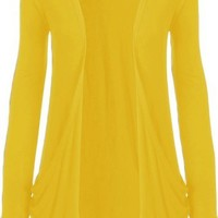 Fashion Womens Boyfriend Pocket Cardigan Shrug Sweater (M/L (10/12), YELLOW)