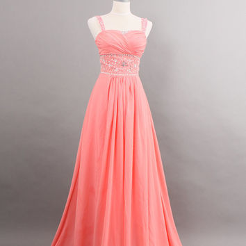 Custom make Customize Vintage Inspired Wedding Dress A LINE Bridal Gown Bridesmaid Formal Pink Chiffon Crystals Plus Size Ball Party Dresses