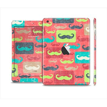 The Vintage Coral and Neon Mustaches Full Body Skin Set for the Apple iPad Mini 2