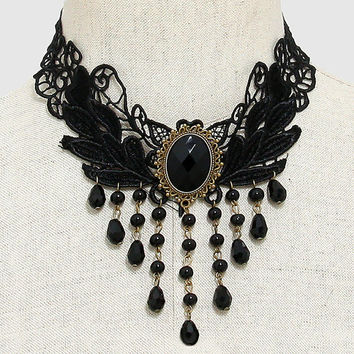 Black Cabochon Accented Bead Fringe Lace Necklace