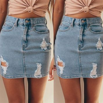 New Fashion Women Denim High Waisted Skirt Sexy Bodycon Pencil Ripped Frayed Mini Skirt Jeans Skirt 2017 Hot Street Wear