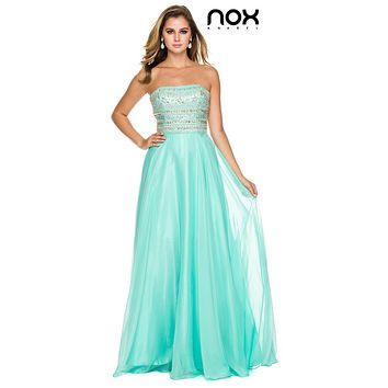 Strapless Prom Gown Mint Green Long Chiffon A Line Stone Bodice
