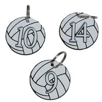 Numbered Volleyball Bag Tag / Keychain - Lucky Dog Volleyball
