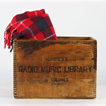 Vintage Wood Crate, Scribner's Radio Music Library Wood Crate, Music Library Wood Crate, Vintage Wooden Crate, Industrial Decor