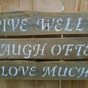Live Laugh Love Sign, Rustic Wood Sign, Rustic Home Decor, Eco Friendly Sign, Reclaimed Wood Sign