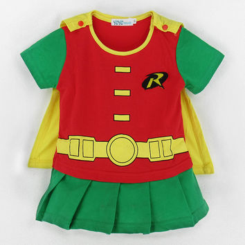 Baby Girl Party Funny Dresses Infant Robin Costume Romper Halloween Carnival Playsuits Cos