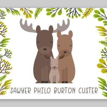Moose Nursery Art, Personalized Woodland Nursery Decor, Baby Moose Family, Animals Room Decor, Forest Animal Prints, Paper PRINT or CANVAS