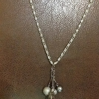 "36"" pewter colored necklace  with a 2.5""  drop of pearlized light and dark gray beads plus matching earrings"