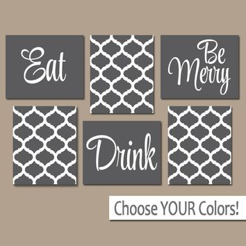 EAT DRINK be Merry Wall Art, CANVAS or Prints, Charcoal Gray Kitchen Decor, Dining Room Wall Decor, Trellis Pattern, Home Decor Set of 6