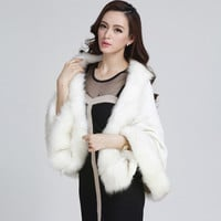 New Women Cardigan Sweater Coat Warm Thick Faux Fur Cloak Blanket Shawl Cape Top 7_S
