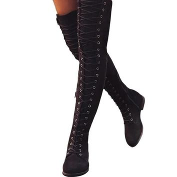 Lace Up Over Knee Boots Women Rome style Boots