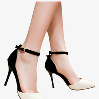 Women's Pointed Toe Pumps In Beige and Black