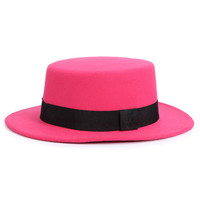 Rose Red Bow Tie Brand Woolen Fedora Hat