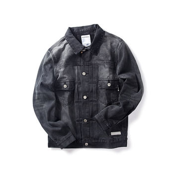 Men's Fashion Denim Rinsed Denim Vintage Weathered Training Jacket [7929509187]